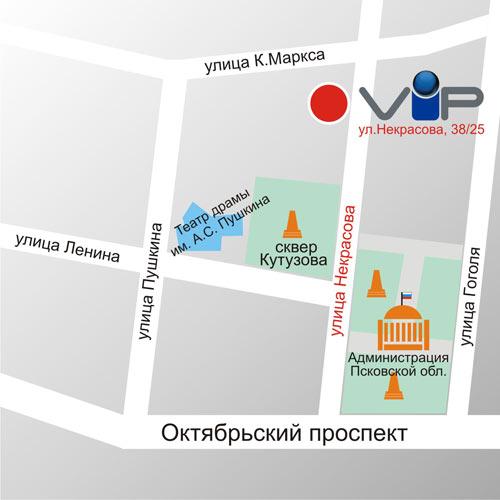 """Схема проезда ООО """"ВИП-Псков"""""""